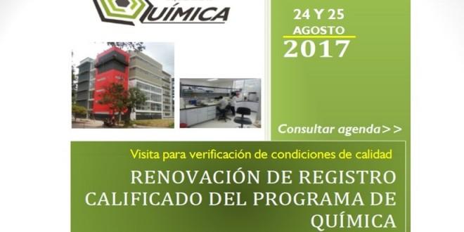 Visita para verificación de condiciones de calidad con el fin de obtener renovación de registro calificado Programa de Química