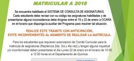 CONSULTA DE ASIGNATURAS A2018