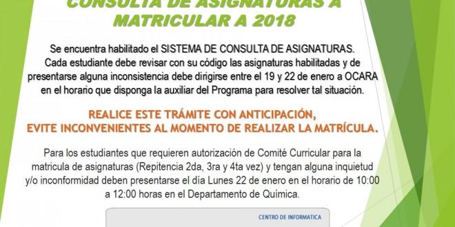 Consulta de asignaturas a matricular periodo A 2018