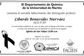 Fallecimiento profesor Libardo Benavides